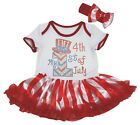 My 1st 4th Of July White Cotton Bodysuit Red Striped Baby Dress NB-18M