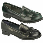 F9R727 SPOT ON LADIES CASUAL LOAFERS SLIP ON FORMAL SMART BLACK GREEN FLAT SHOES