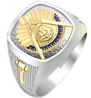 Customizable Men Two Tone 925 Sterling Silver Past Master Freemason Masonic Ring