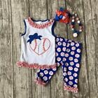 Girls Baseball Love Heart Capri Red Blue Set with Accessories 4pc Sizes 2T-8
