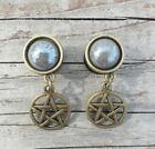 Pair of HANDCRAFTED DOUBLE FLARED WICCA PENTACLE RITUAL Dangle EAR Gauges