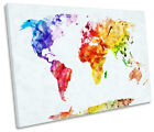 Map of the World Colourful Picture SINGLE CANVAS WALL ART Print