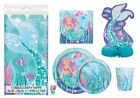 Deluxe Mermaid Birthday Party Supplies Pack - Serves 16 - Tablecloth, Plates,