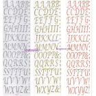 Self Adhesive Glitter Diamante Alphabet Letters Number Stickers Silver Rose Gold