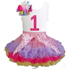Girls Ruffled Pettiskirt Tutu & 1st 2nd Birthday Tee 2pcs Dress Outfit