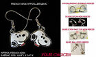 Small Snoopy Earrings *OPTION* Beagle Hypoallergenic Pierced OR Clip On Earrings