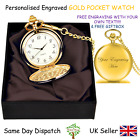 Personalised Engraved Pocket Watch Chain-Wedding Gift Birthday-Silver Gold Black