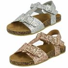 Spot On Girls Flat Glittery Sandals