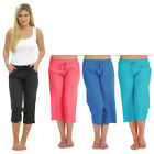 Ladies Womens Summer Beach 3/4 Linen Cropped Capri Trouser Black Blue Pink 10-18