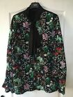 ROCHELLE HUMES Black Green Pink Floral Print Shirt Blouse 18