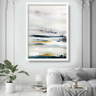 Abstract Painting Art Print White Blue Yellow Wall Poster 4 Contemporary Decor