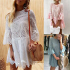 UK Womens Lace Swing Bell Sleeve Holiday Dresses Ladies Summer Beach Paty Dress