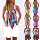 Boho Womens Floral Summer Strappy Beach Wear Sundress Ladies Cover UP Mini Dress