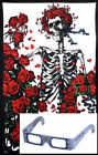 "Grateful Dead 3D Tapestry ""Skeleton Rose"" - (Glasses Included) - 2 Sizes"