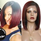 how to ombre red hair - Hot Ombre Black Red Bob Style Lace Front Wigs Brazilian Remy Human Hair Short #W