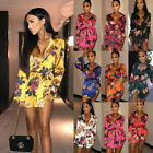 Uk Womens Floral Satin Long Tops Blouse Ladies Summer Beach Party T Shirt Dress