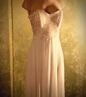 Rhinestone Embellished Pink Lace Strapless Dress Gown Prom MSRP $129