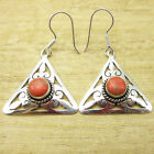 925 Silver Plated Natural ORANGE COPPER TURQUOISE & Other Gemstone Earrings
