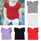 Внешний вид - Toddler Baby Girls Cotton T-shirt Casual Solid Ruffle Sleeve Summer Tops Blouse
