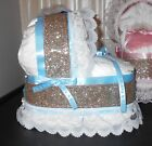 Gold Blue Pink Mini Bassinet Diaper Cake Baby Shower Gift Centerpiece You Choose