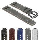 DASSARI Croc Embossed Mens Leather Aviator Watch Band Strap w/ Black Rivets