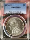 1878-CC $1 M0RGAN SILVER DOLLAR CERTIFIED BY PCGS MS63 HIGH LUSTER BEAUTY