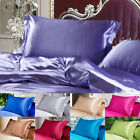 Hot Solid Queen/Standard Silk~y Satin Pillow Case Bedding Pillowcase Smooth Home image