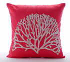 Beaded Tree Coral Pillow Cases, Cotton Linen Pillow Covers 16X16 in-White Forest