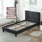 TWIN FULL QUEEN Size Platform Bed Frame Upholstered Linen Headboard With Slats