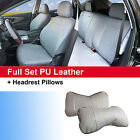 Gray Synthetic Leather Full Car Seat Cushion Covers Front Rear Auto w 2 Pillows $64.95 USD on eBay