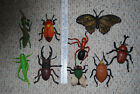 9 Large Plastic Insects - Beetles , Moth, Praying Mantis, fly, ant, etc.