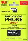 Straight Talk SIM Card  AT&T, Verizon, T-Mobile  Activation 4G LTE SIM GSM