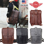 Women Men Leather Backpack Shoulder School Book Travel Handbag Rucksack Bag B10