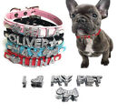 Pet Personalized Collar Crystal Rhinestones Names for Dog Cat Pu Leather