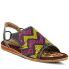 New In Box L'Artiste Womens LAILAH-BM Black Multi Leather Ankle Strap Sandals