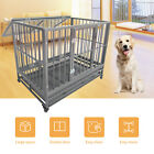"36""/43""Large Heavy Duty Metal Dog Crate Pet Kennel Cage Playpen with Tray&Wheels"