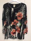 Jess and Jane Rising Flowers Black Floral 3/4 Sleeve Shirt Size New with Tags