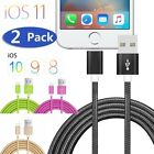 2x Charger USB Data Cord nylon Cable for iPhone X 8 Plus 7 6S iPad Mini 1/2/3/4