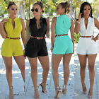 Summer Cool Women Sexy Sleevelesssuit Slim Shorts Pant Rompers with Belt SP