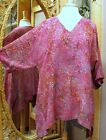 New Moon's Own Batik Artist Top V-Neck Tunic Blouse in Crinkle Rayon XS-XL
