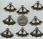 15  ALIEN IN A  U.F.O. FLYING SAUCER  METAL PENDENT CHARMS, - U.S. SELLER. - A12
