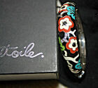 NWOT Sterling Silver Belle Etoile Braclet Enamel Flowers. Oiginal Pouch and Box