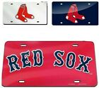 Boston Red Sox MLB Silver, Navy or Red 6x12 Laser Cut Mirror License Plate Cover