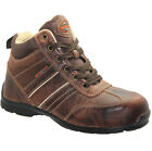 MENS BROWN LIGHT WEIGHT LEATHER SAFETY WORK BOOTS STEEL TOE CAP SHOES TRAINERS