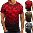 Summer Mens Gradient Printed Short Sleeve T-Shirts Camouflage Pullover Tops SP