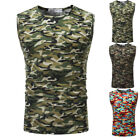 US Mens Camo Casual Fitness T Shirt Bodybuilding Muscle Tee Tank Top Vest Summer