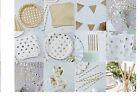 Kraft GOLD WHITE POLKA DOT Luxury TABLEWARE Party Decorations Anniversary Classy