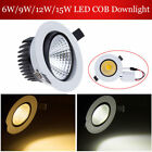 Dimmable COB 6W 9W 12W 15W LED Downlight Recessed Ceiling Light Bulb + Driver
