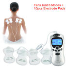 TENS MACHINE DIGITAL THERAPY FULL BODY MASSAGER 8 PAIN RELIEF BACK 10pc pad <br/> 1 x Machine+10 x Electrode pads+connection cable