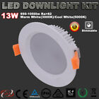 RECESSED 13W LED DOWNLIGHT KIT DIMMABLE IP44 WARM/COOL WHITE 3 YRS WARRANTY IP44